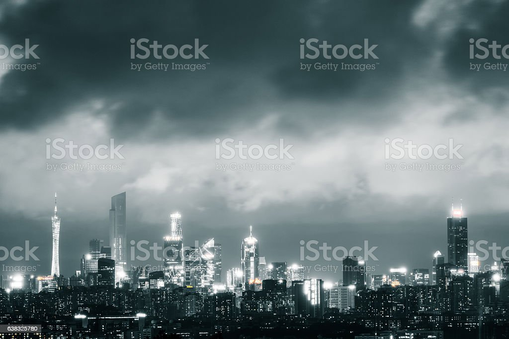 Urban panoramic scene in rain storm weather stock photo