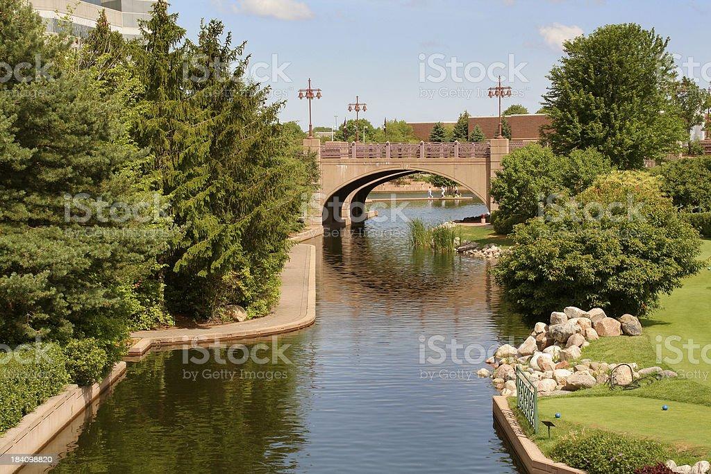 Urban Park-Stream & Bridge Hz stock photo