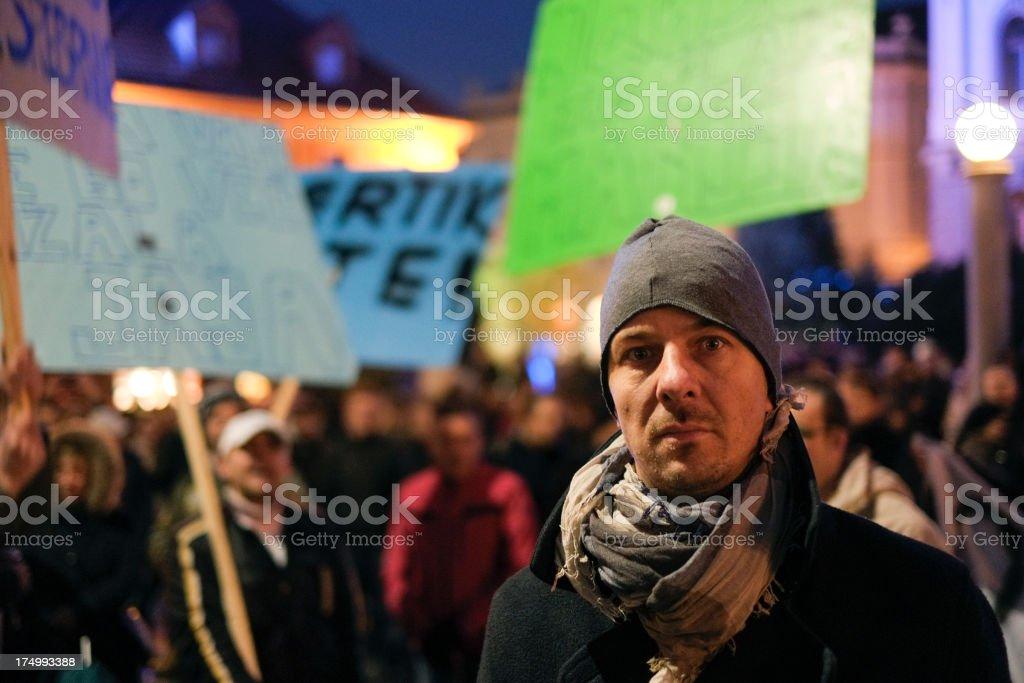 Urban protestor in the crowd stock photo