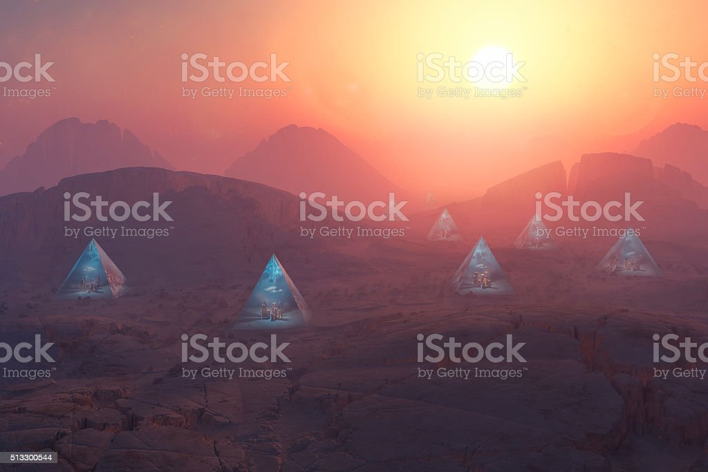 Urban pyramid structures on alien planet stock photo