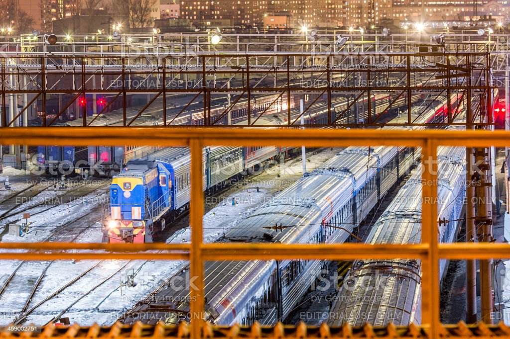 Urban railway station at night royalty-free stock photo