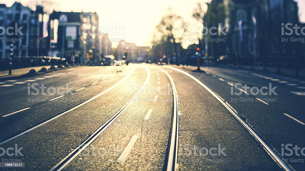 Urban Road in Amsterdam stock photo