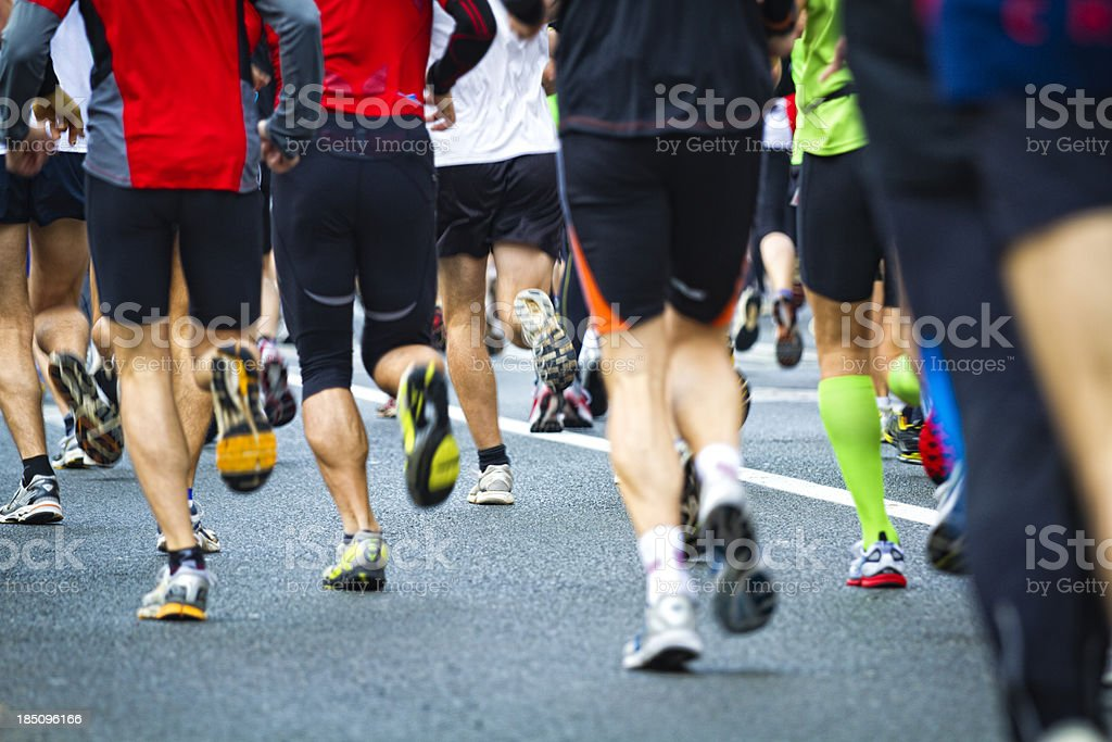 urban running marathon stock photo