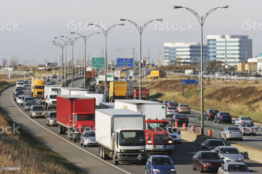 Urban Rush Hour on Highway stock photo