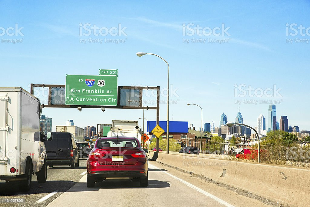 Urban rush hour traffic congestion on the highway royalty-free stock photo
