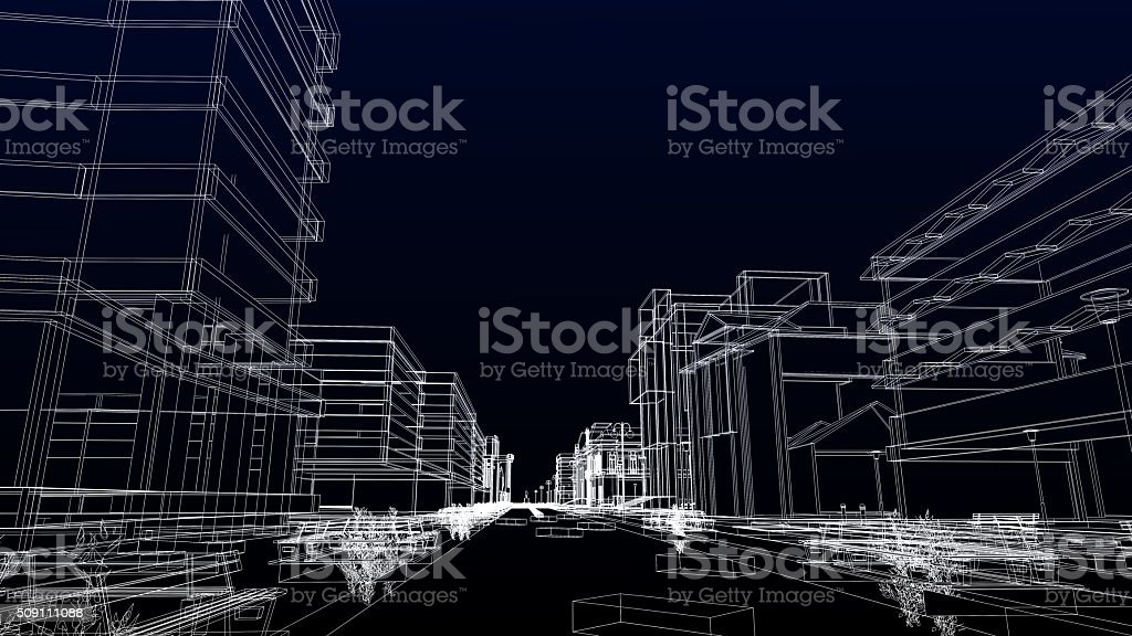 Urban scene, abstract wireframe stock photo