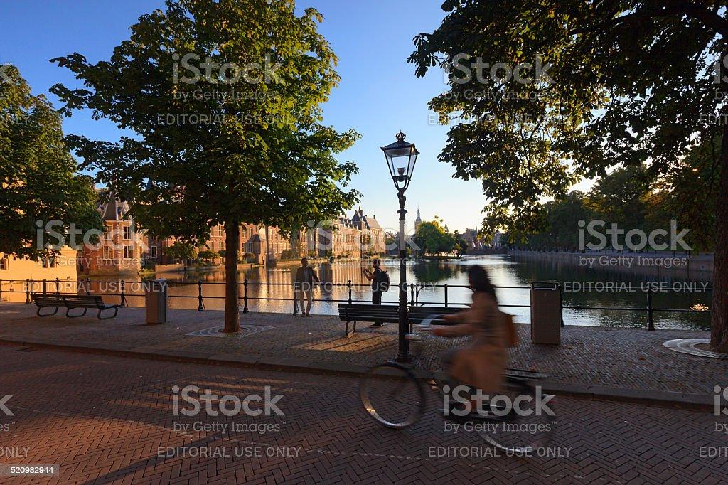 urban scene along The Hague's Korte Vijverberg stock photo