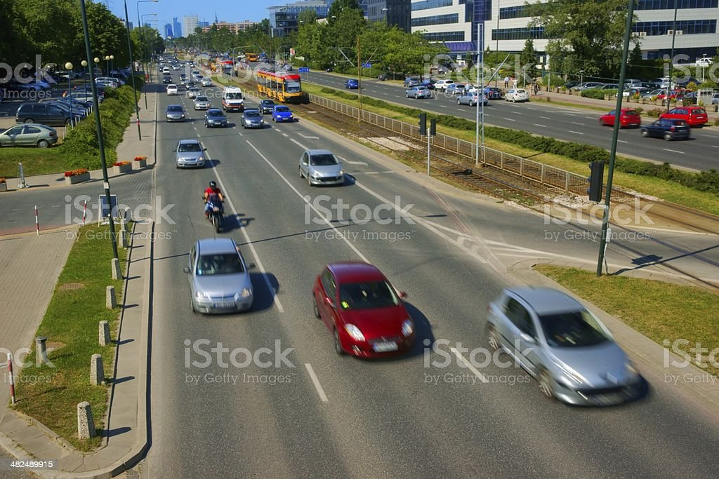 Urban scene, cars driving on the street in city royalty-free stock photo