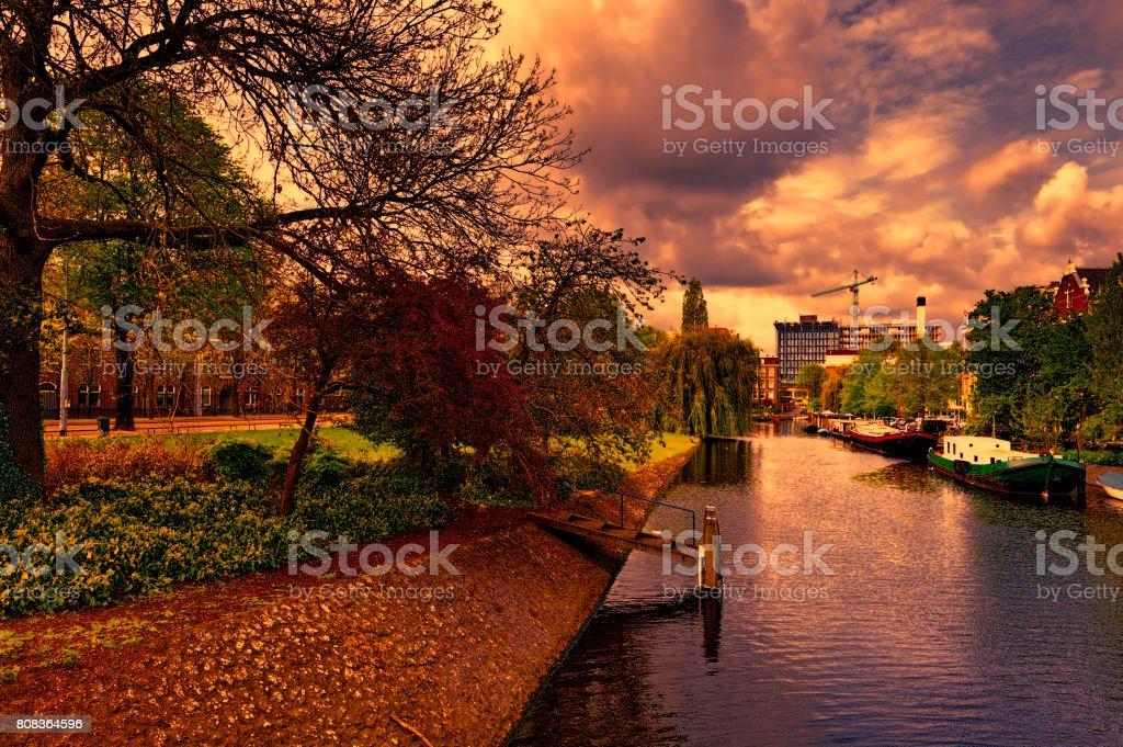 Urban scene in Amsterdam stock photo