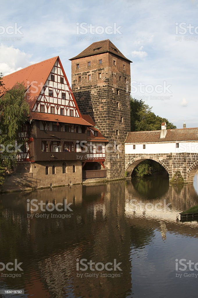 Urban scene in the city of Nuremberg, Germany stock photo