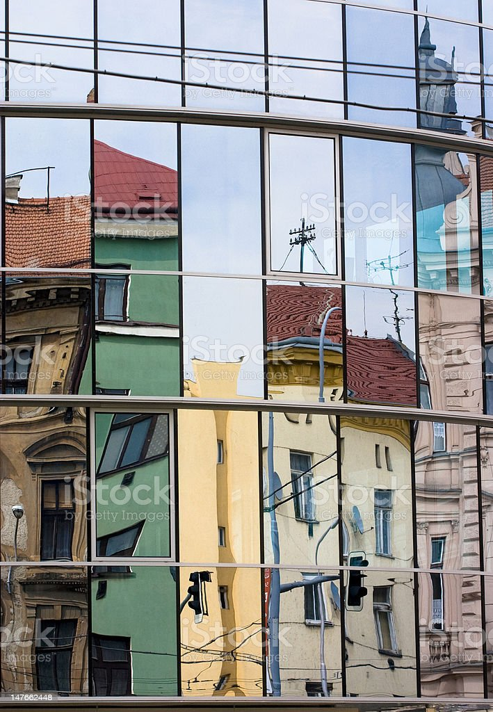 Urban Scene Mirror stock photo