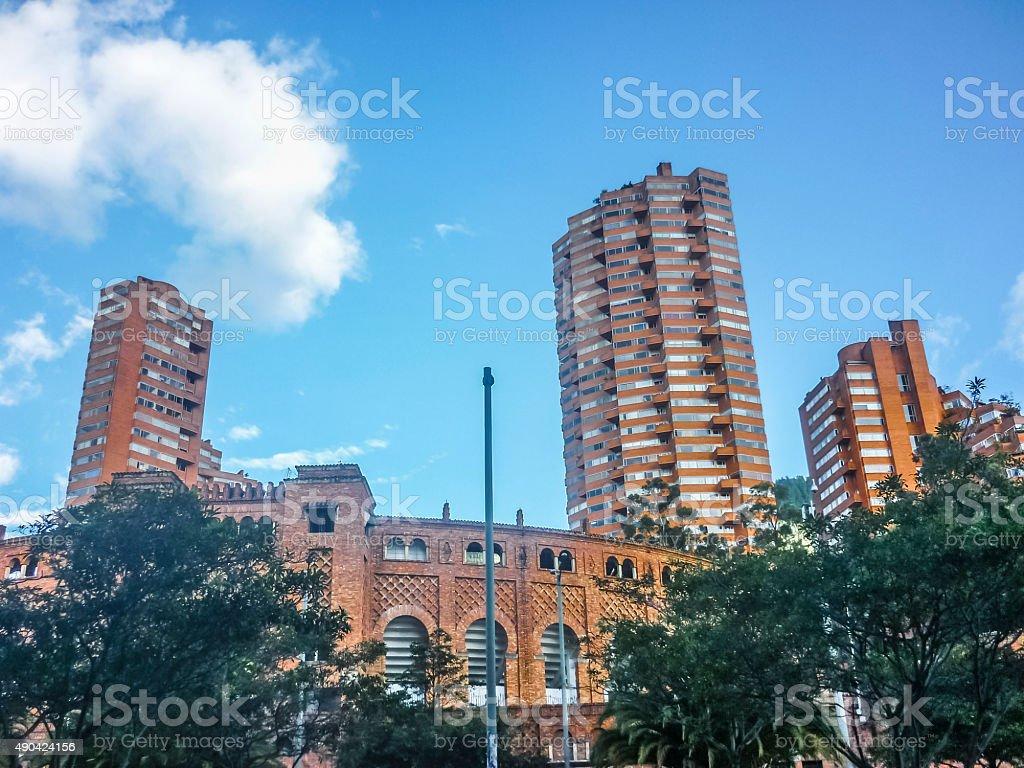Urban Scene of Eclectic Architecture in Bogota Colombia stock photo