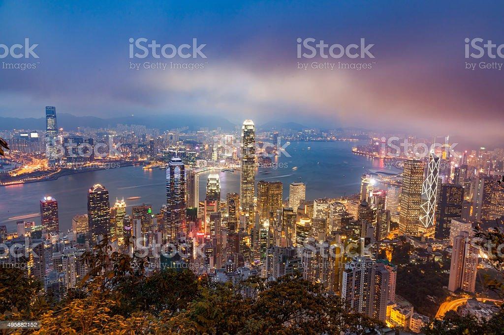 urban scene of hong kong stock photo