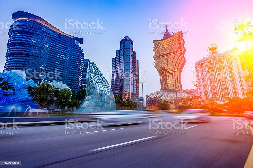 urban scene of macao stock photo