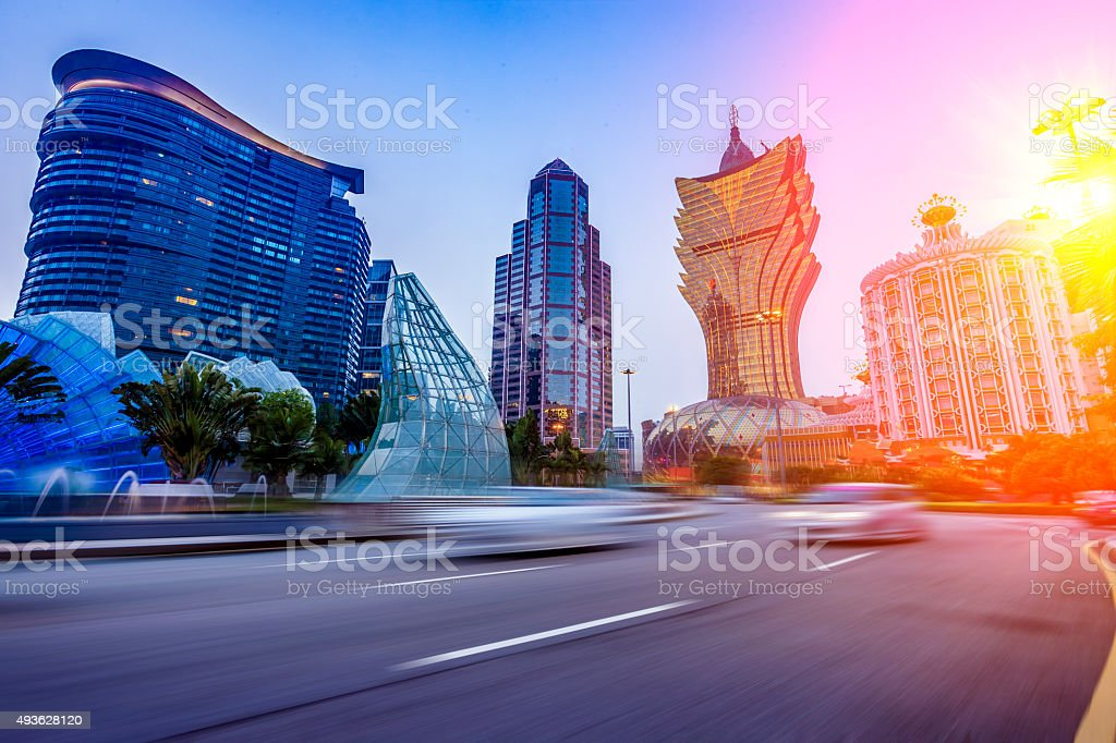 urban scene of macao stock photo