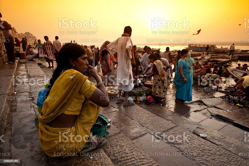Urban scene on Ganga riverbank stock photo