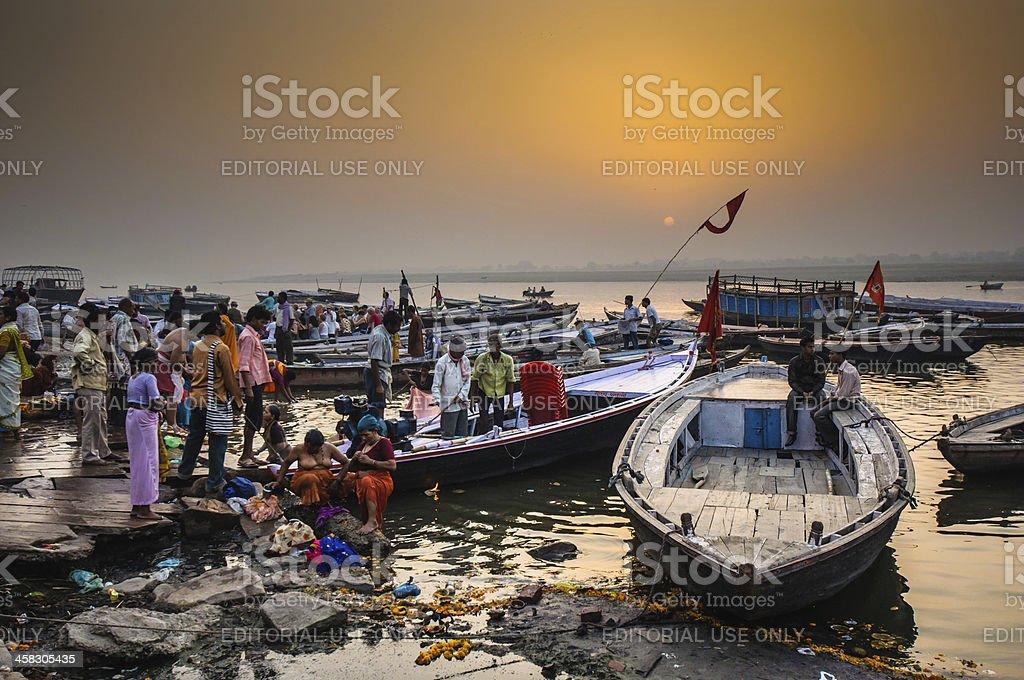 Urban scene on Ganga riverbank royalty-free stock photo