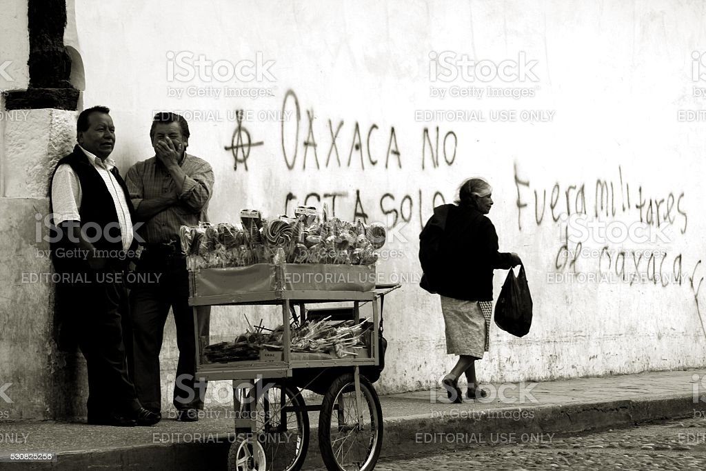 Urban scene San Cristobal Mexico Political issues Black and White stock photo