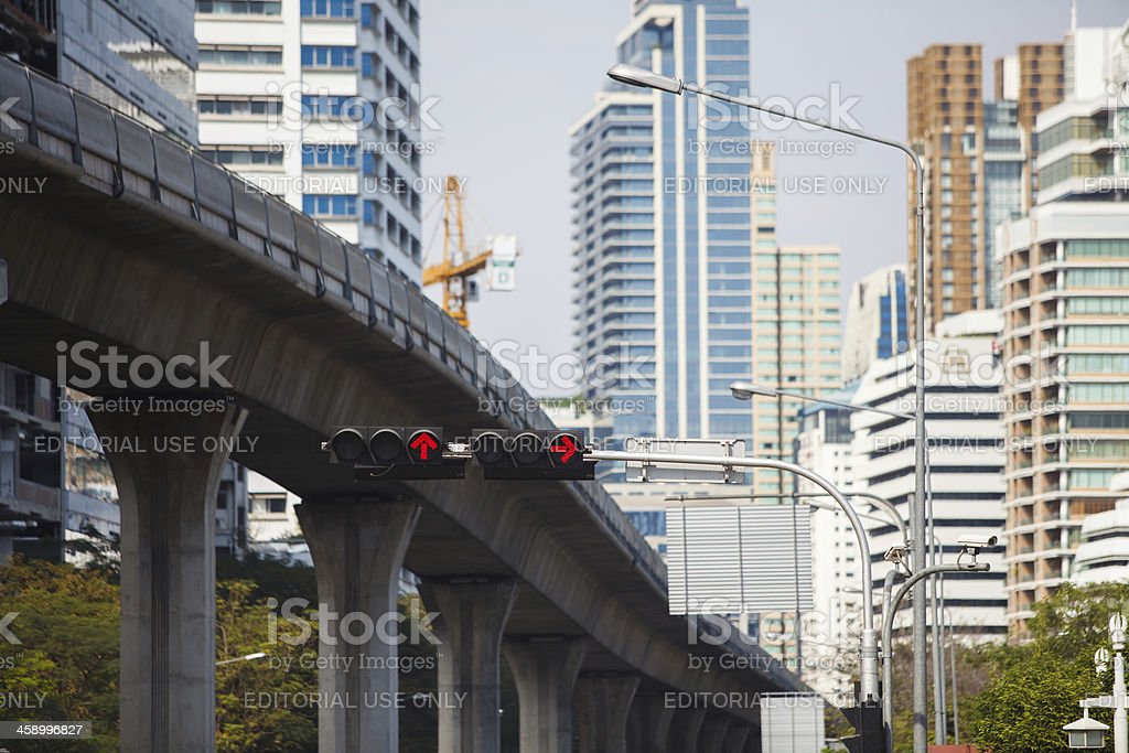 Urban scene with a strong bridge and skyscrapers royalty-free stock photo