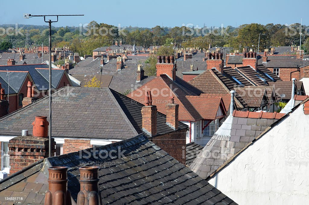Urban Scene with Densely Packed Housing royalty-free stock photo