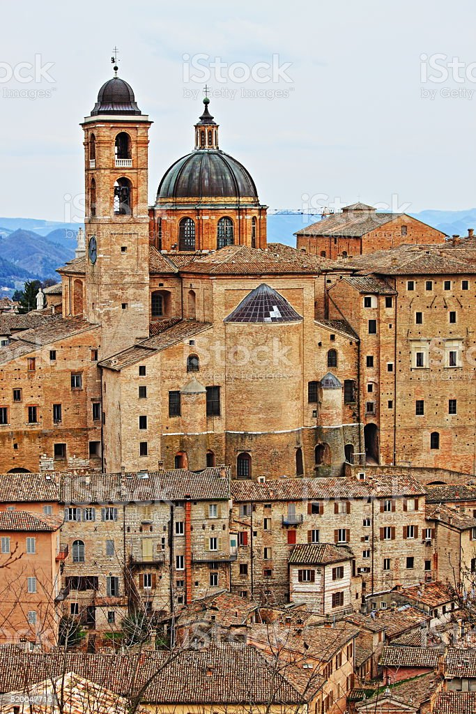 Urban scenic of Urbino stock photo