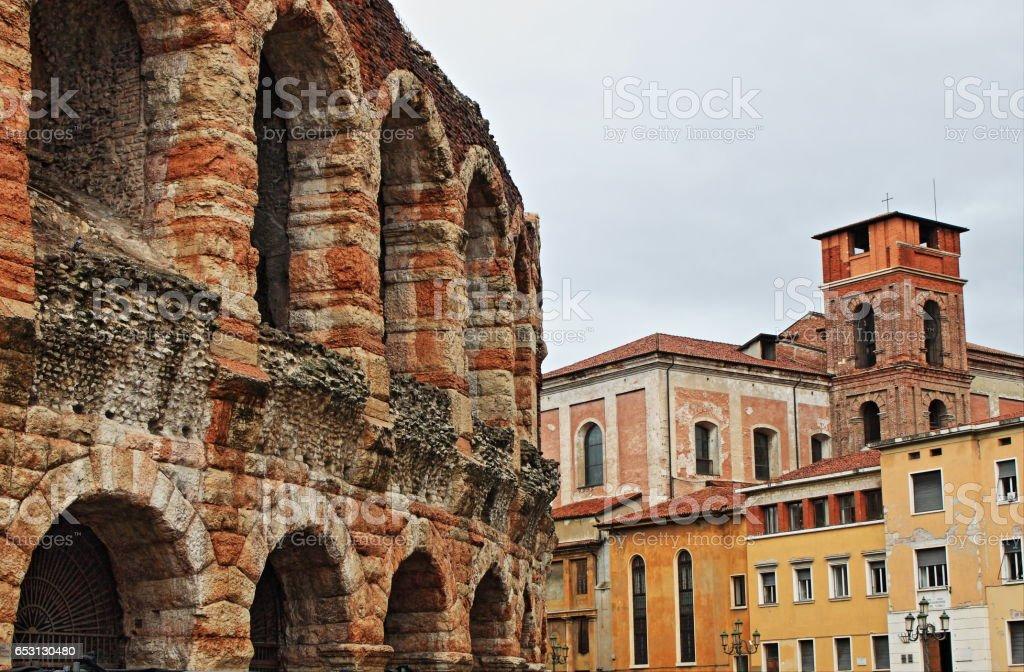 Urban scenic of Verona with Arena stock photo