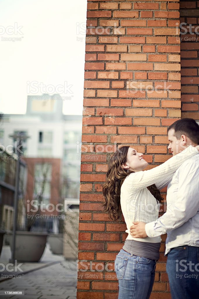 Urban Setting and Young Couple In Love royalty-free stock photo