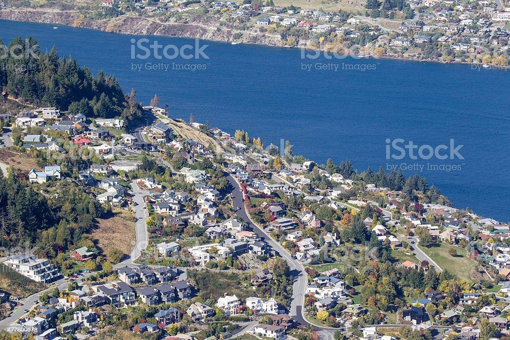 Urban Settlement on the lakes edge stock photo