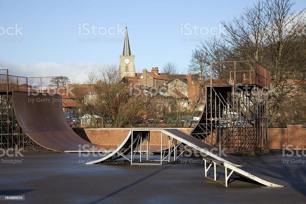 Urban skatepark, skateboarding park stock photo