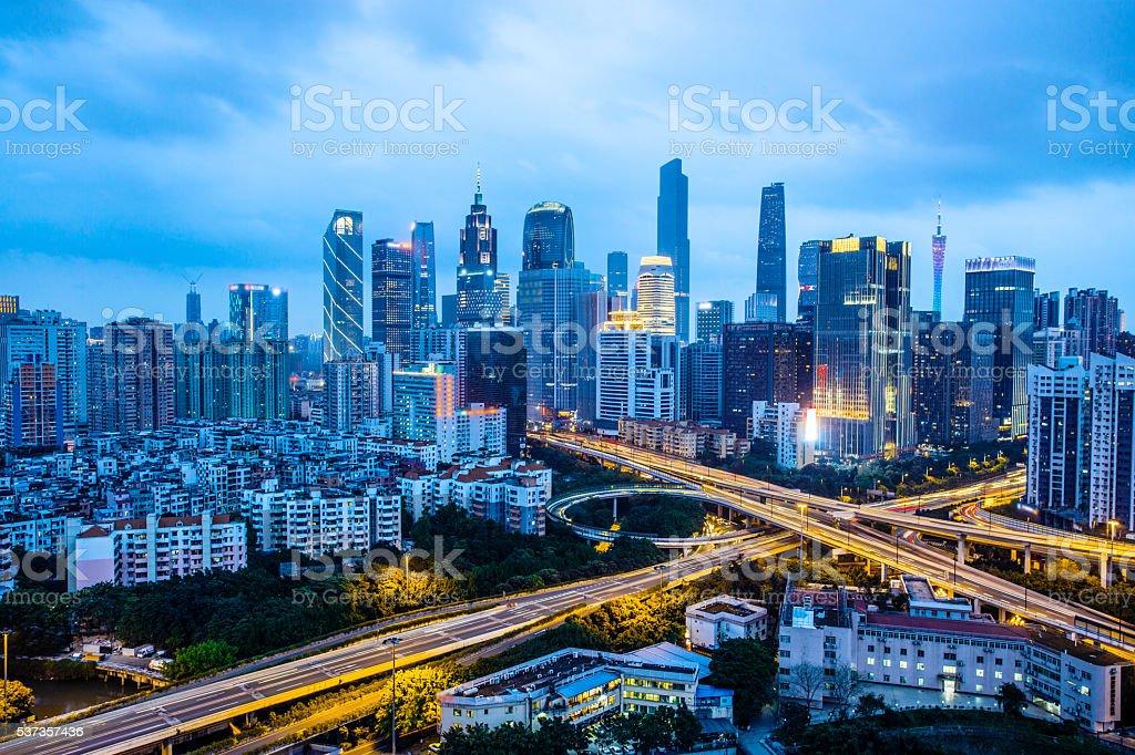 Urban skyline at night,Guangzhou,China stock photo