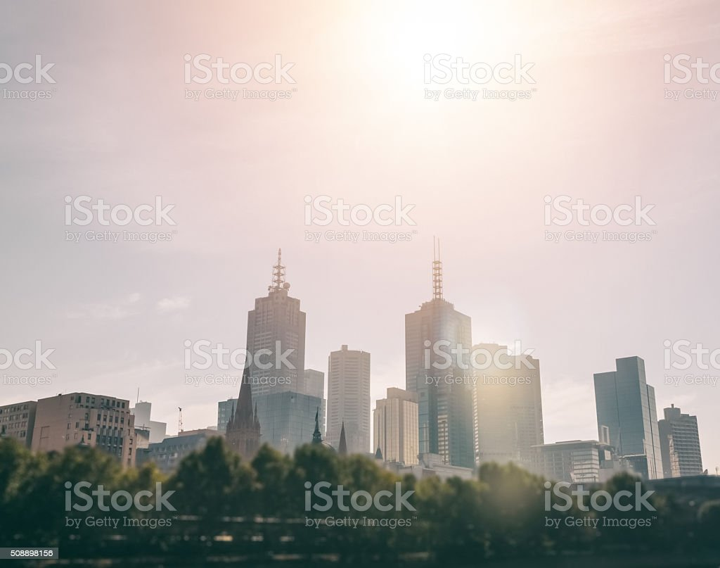 Urban skyline in Melbourne stock photo