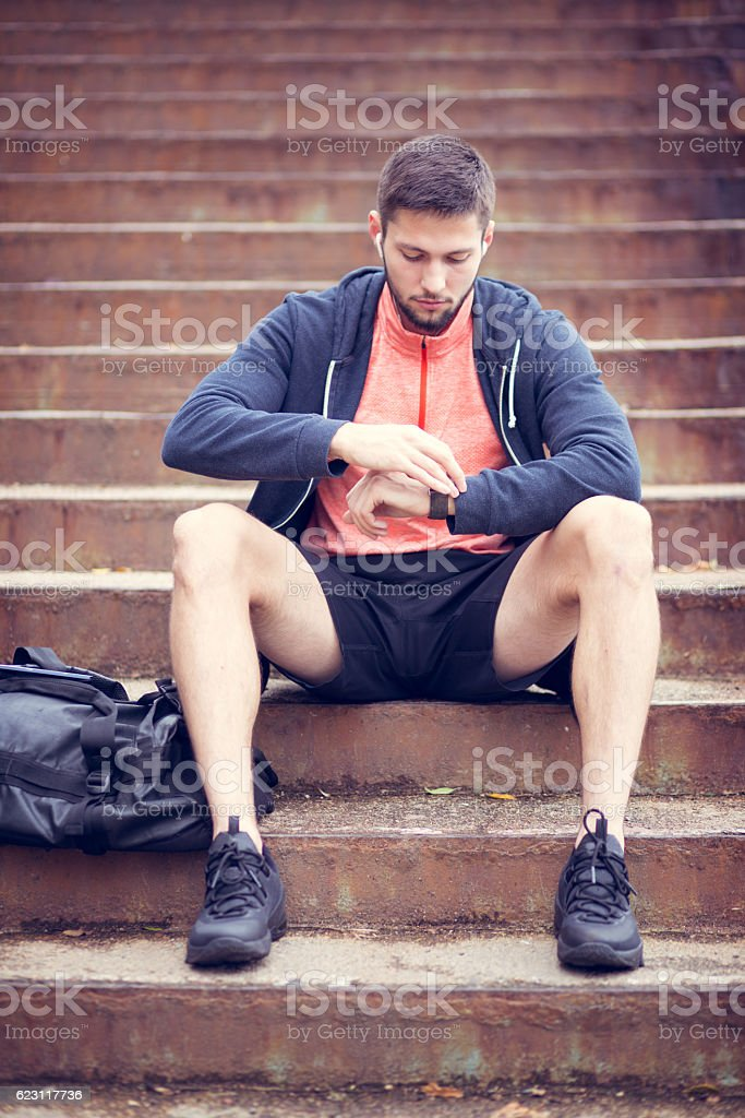 Urban sporty man stock photo