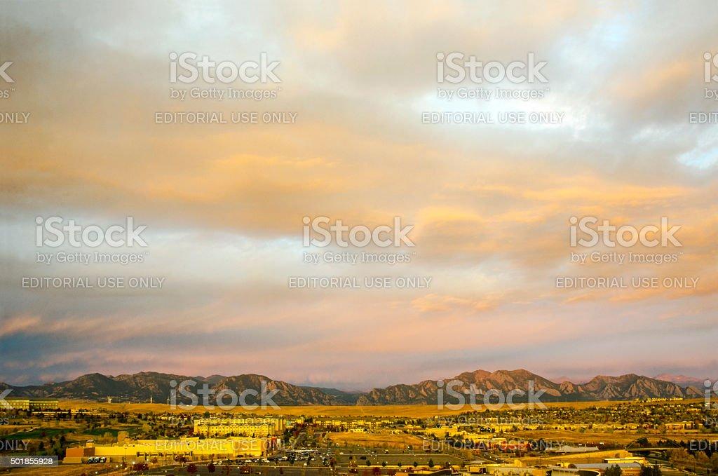 Urban Sprawl in Broomfield, Colorado and the Flatirons stock photo