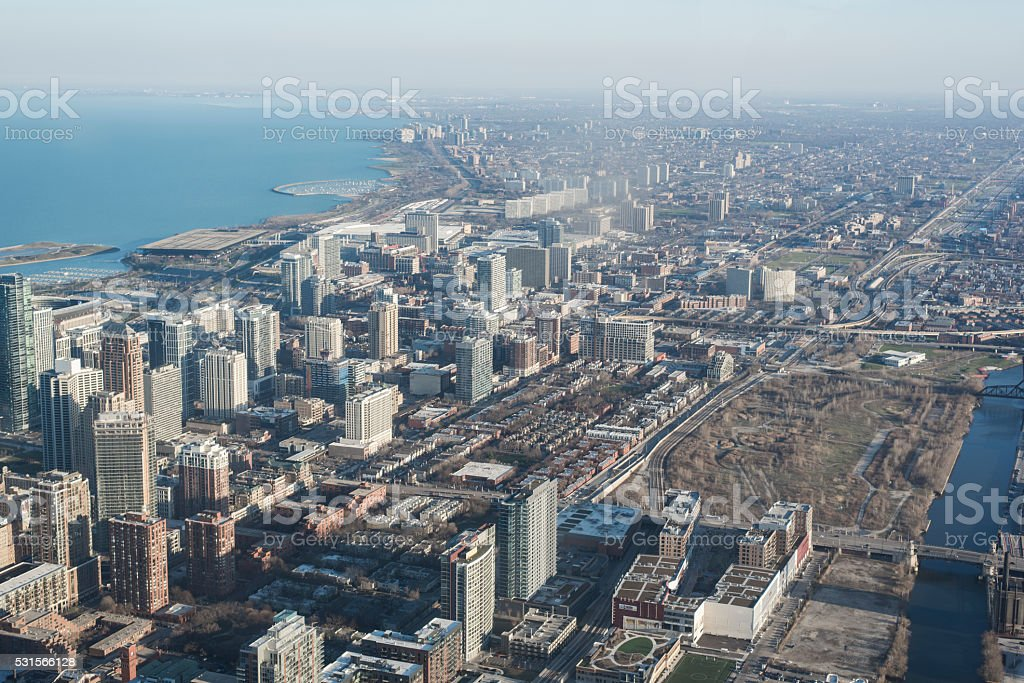 urban sprawl of chicago from above stock photo