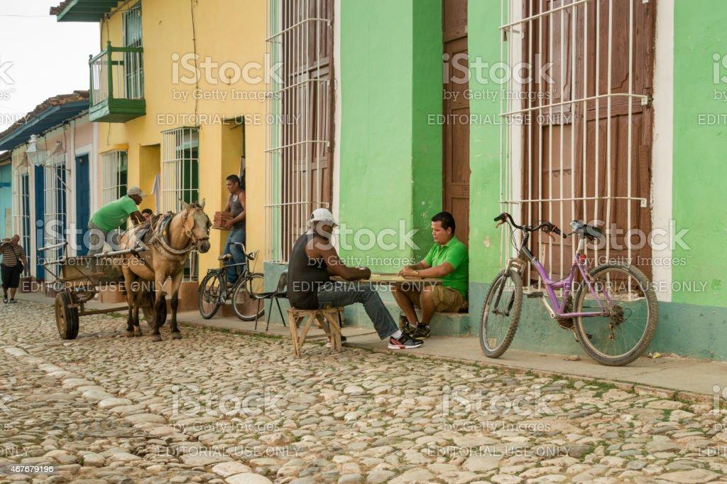Urban street scene in Trinidad, Cuba stock photo
