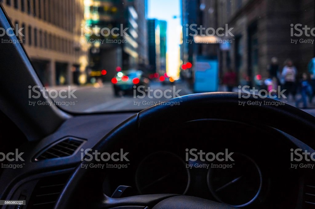 Urban Street - View From Inside A Car stock photo