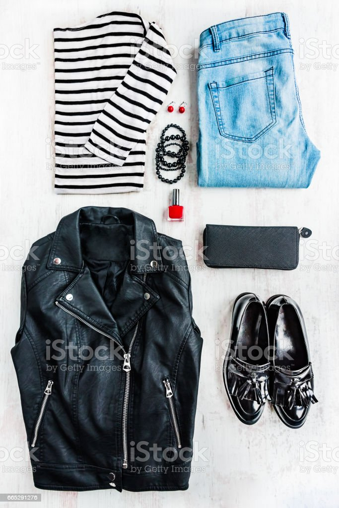 Urban style woman collage clothing and accessories. stock photo