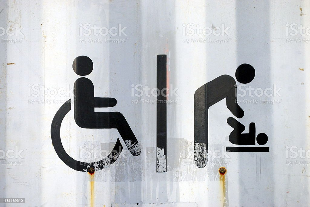 Urban Toilet Sign for Disabled and Parent & Baby stock photo