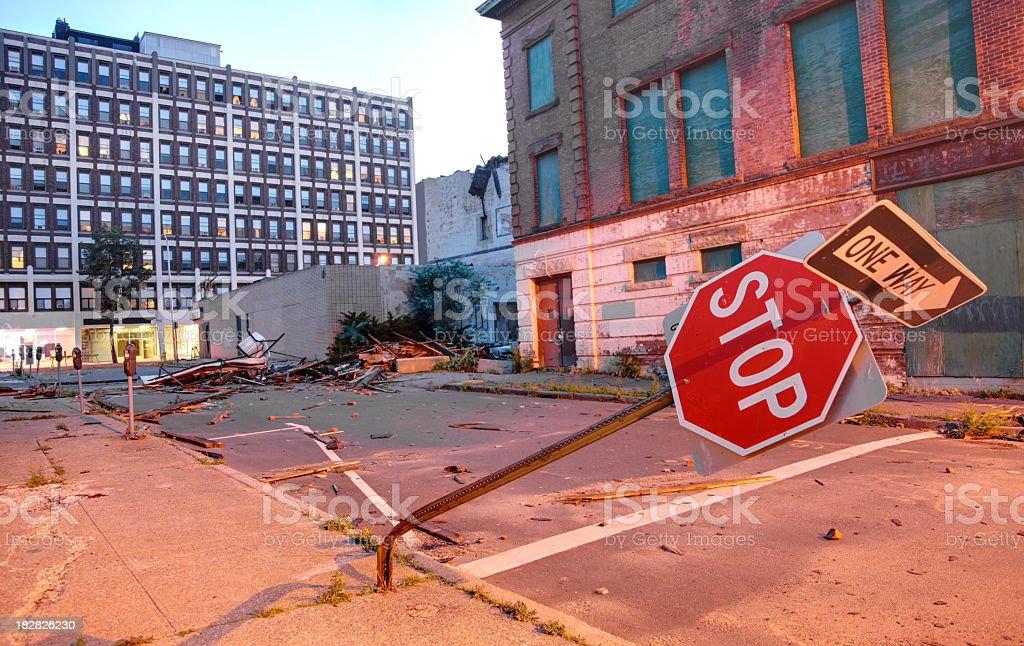 Urban Tornado Damage stock photo