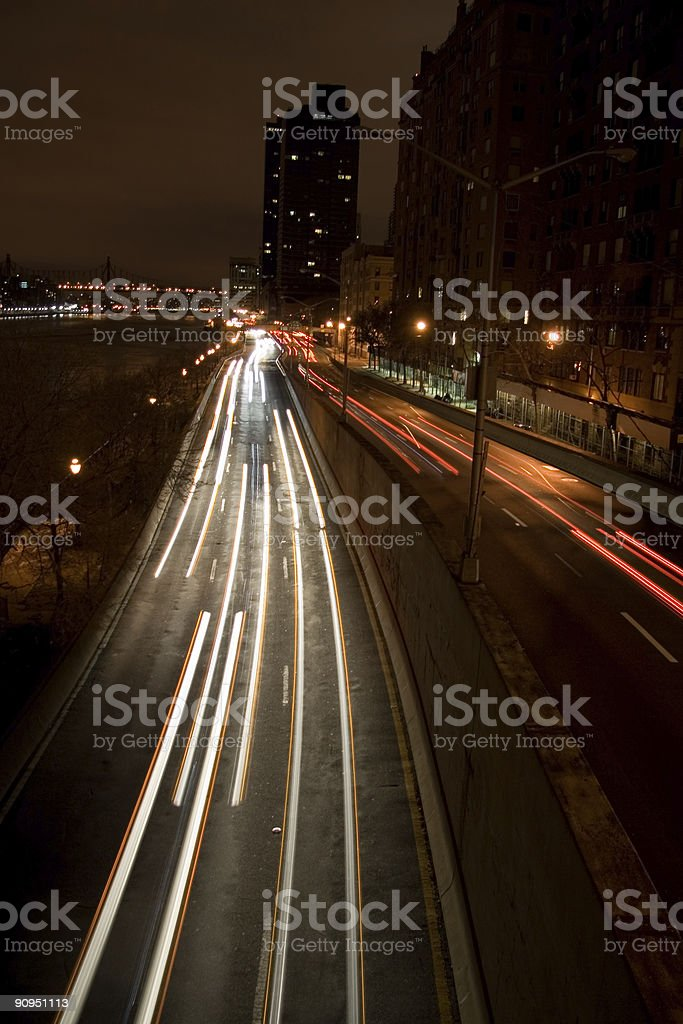 Urban Traffic at Night royalty-free stock photo