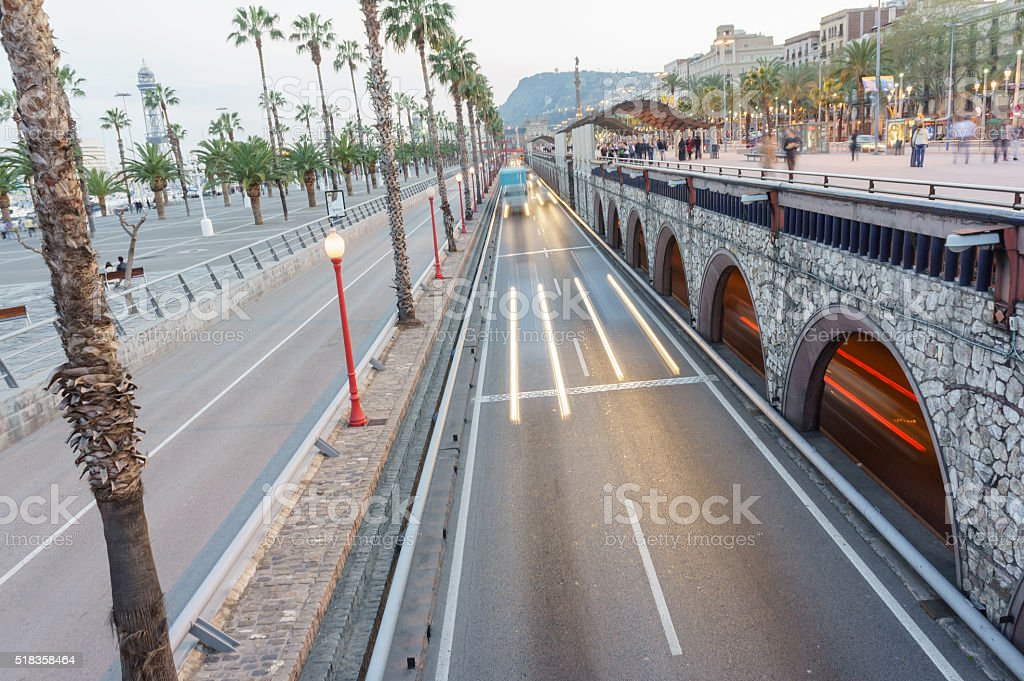 Urban Traffic  Light trails from transport on road stock photo