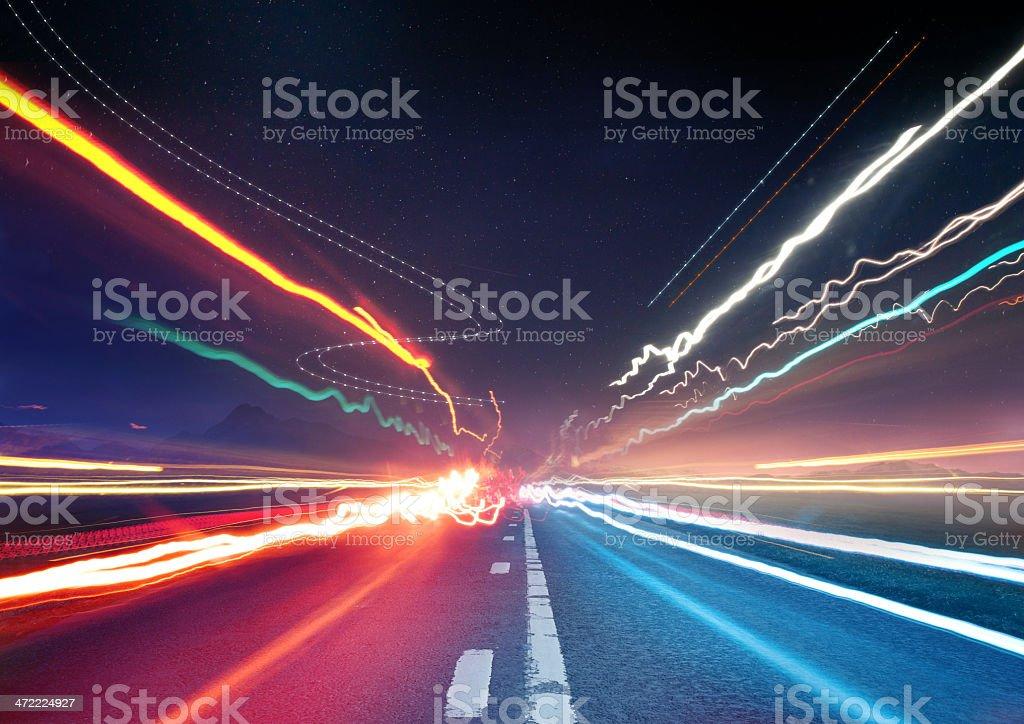 Urban Traffic Light Trails stock photo