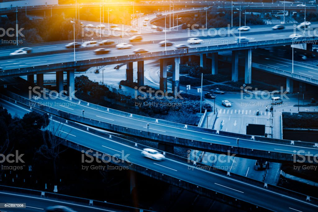 urban traffic with cityscape stock photo