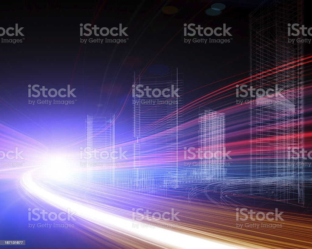 urban transport in the night royalty-free stock photo