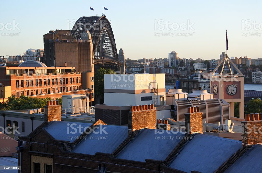 Urban view of The Rocks Sydney Australia New South Wales stock photo