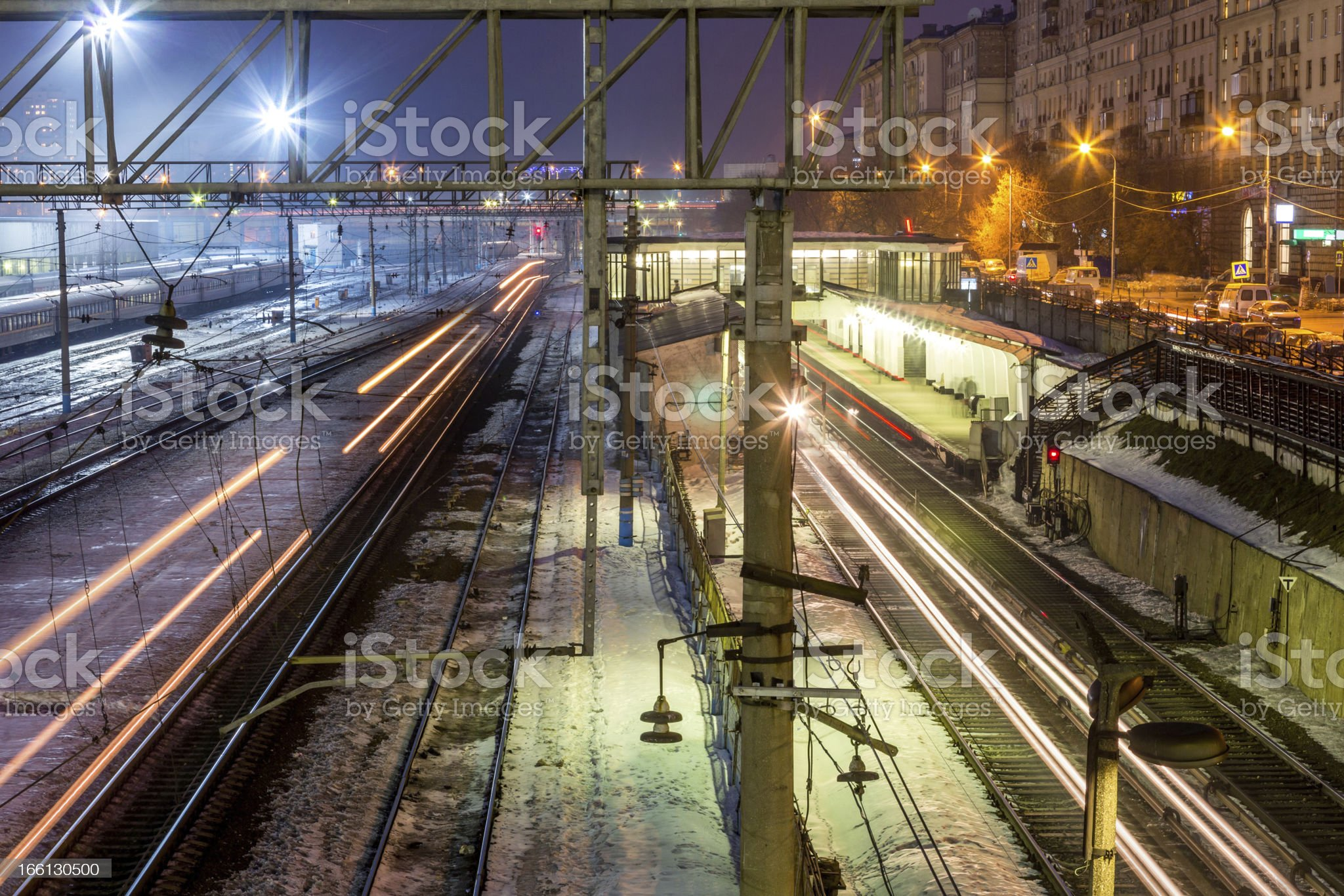 Urban view with train tracks royalty-free stock photo