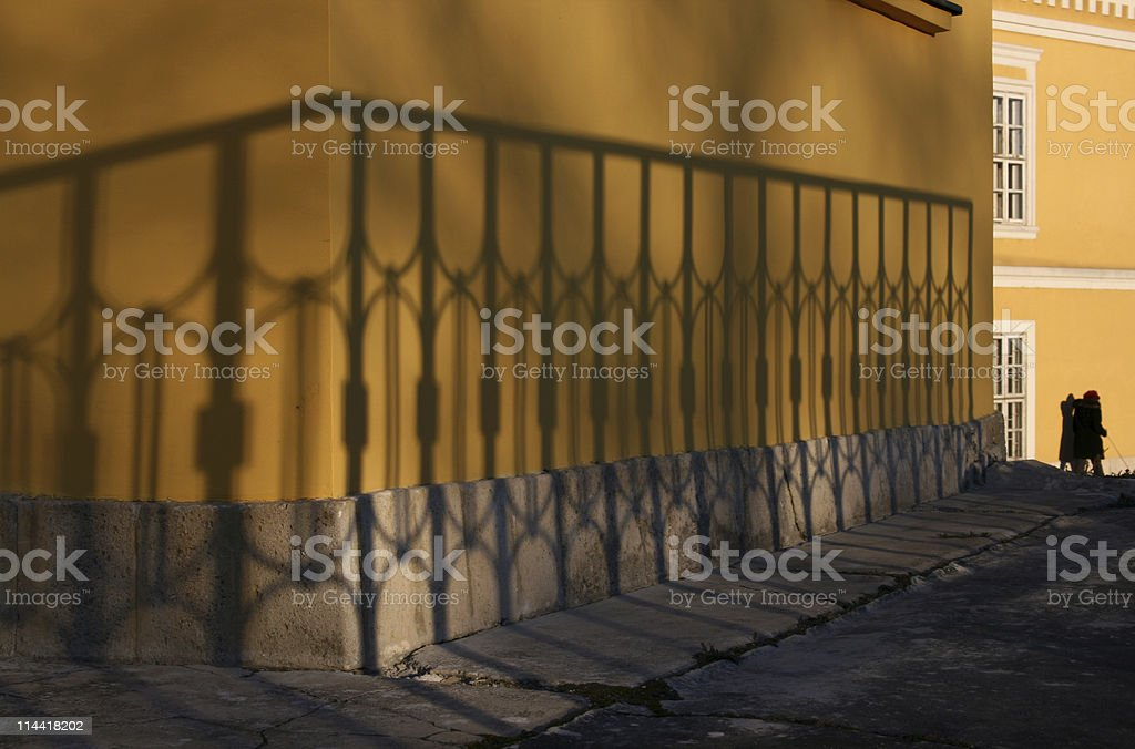 Urban Wall with Spectacular Shadow royalty-free stock photo