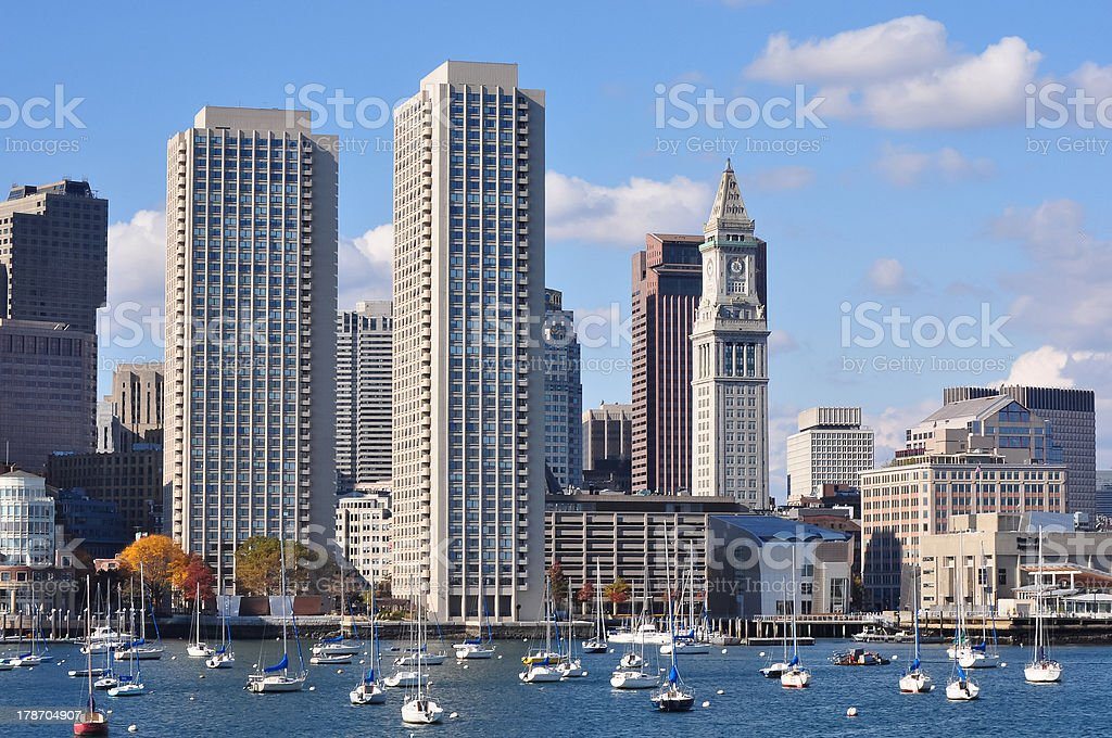 urban waterfront skyline seen from Boston Harbor royalty-free stock photo