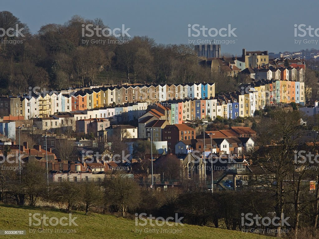 Urban winter skyline with colourful housing in Bristol UK stock photo