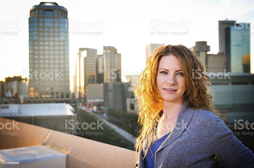 Urban woman at sunset royalty-free stock photo